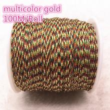 100 м/рулон 0,8 мм многоцветный золотой нейлоновый шнур, китайский узел, шнур макраме, браслет, плетеные струнные поделки из бисера, нить# 00N