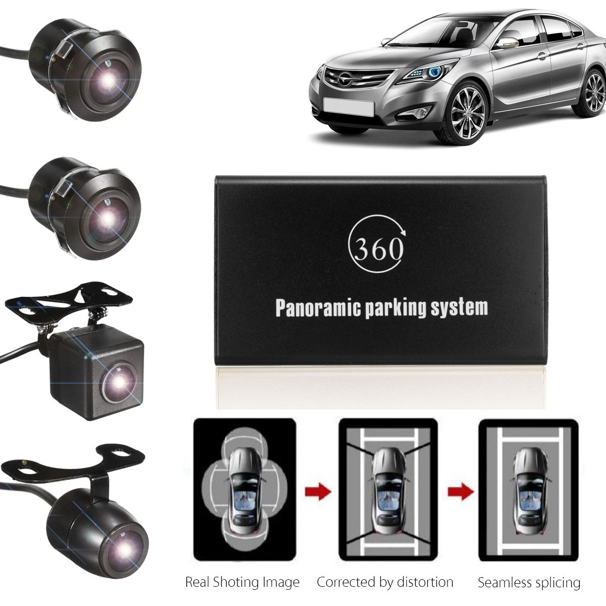kroak 360 degree bird view panoramic system 4 camera car dvr recording parking rear view cam in. Black Bedroom Furniture Sets. Home Design Ideas