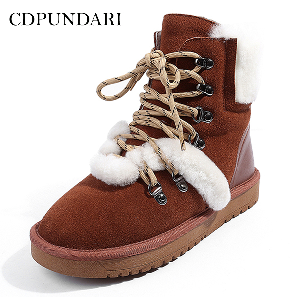 CDPUNDARI Genuine Leather Wool Snow boots women Winter shoes Ladies Plush Platform Ankle boots cocoafoal women s wool snow boots woman ankle boots silvery winter snow boots flat with platform wool snow boots genuine leather