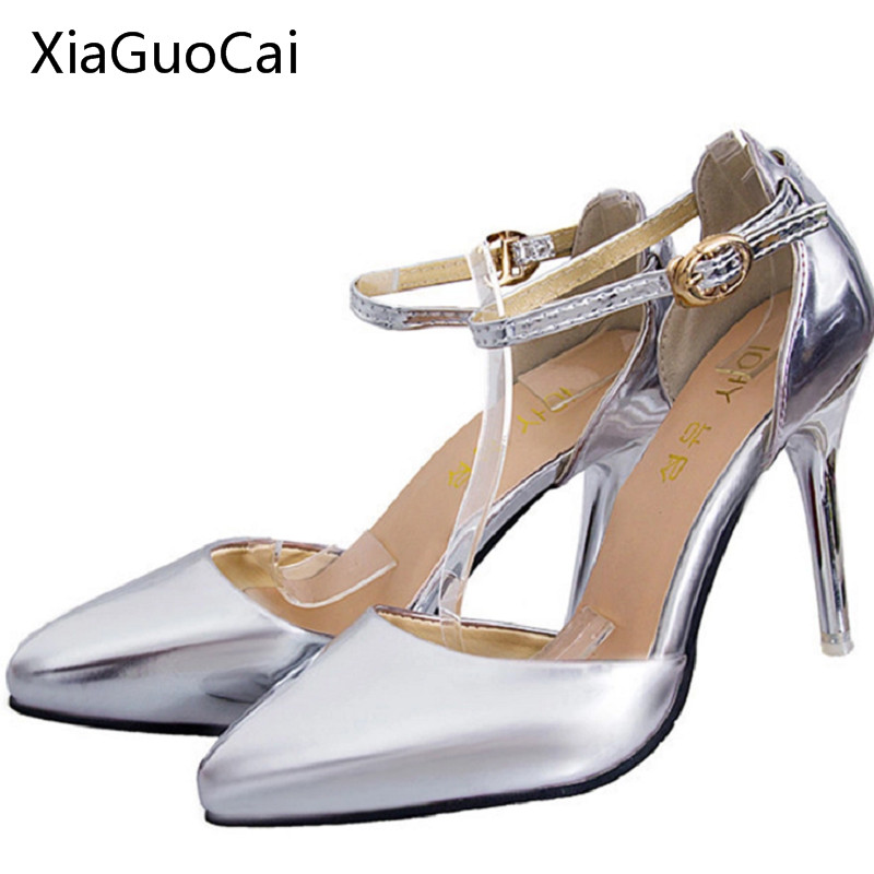 Gold   Silver 2016 Patent Leather Women High Heels Shoes Red Bottoms Pumps  Pointed Toe Sexy 03ef6a18d5f7