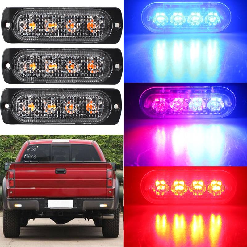 Car-Styling Bright White Yellow Red Blue Amber 4 LED Car Truck Van Beacon Strobe Warning Flashing Emergency Grille Police Light cyan soil bay car truck emergency strobe flash warning light 12v 9 led flashing police 9w lamp sucker red blue white amber