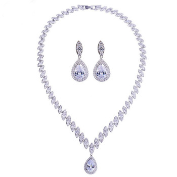 925 Sterling Silver Platinum Plate Luxury Diamond Women Wedding Jewelry Set Red/Green/Blue/White CZ Drop Earring Choker Necklace 4
