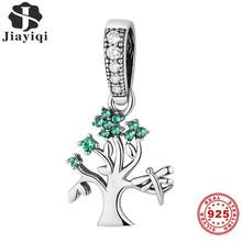 Jiayiqi 925 Sterling Silver Tree Charms fit Pendant Necklaces Bracelet CZ Crystal Women Fashion Silver Jewelry Christmas Gifts(China)