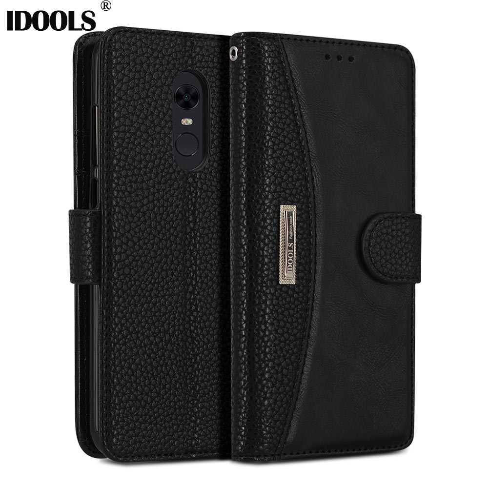 IDOOLS Case For Xiaomi Redmi 5 Plus 5Plus Original PU Leather Wallet Covers Phone Bags Cases for Xiaomi Redmi 5 Plus 5.99 inch