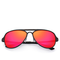 Red Mirror Lens Men Sunglasses Metal Frame Polarized Glasses Size:56-17-143mm Come With Box