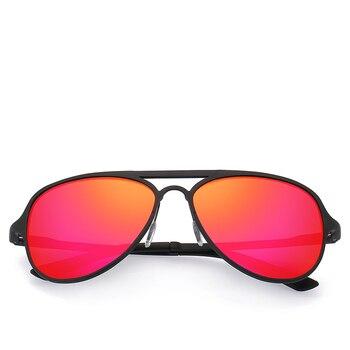 Rot Spiegel Objektiv Männer Sonnenbrille Metall Rahmen Polarisierte Gläser Größe: 56-17-143mm Kommen Mit Box