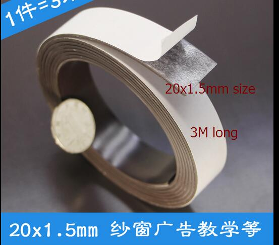 New soft TAPE magnet Magnetic stripe magnet 3m volume 20mmx1.5mm size  advertising or whiteboard sheet material Magnet