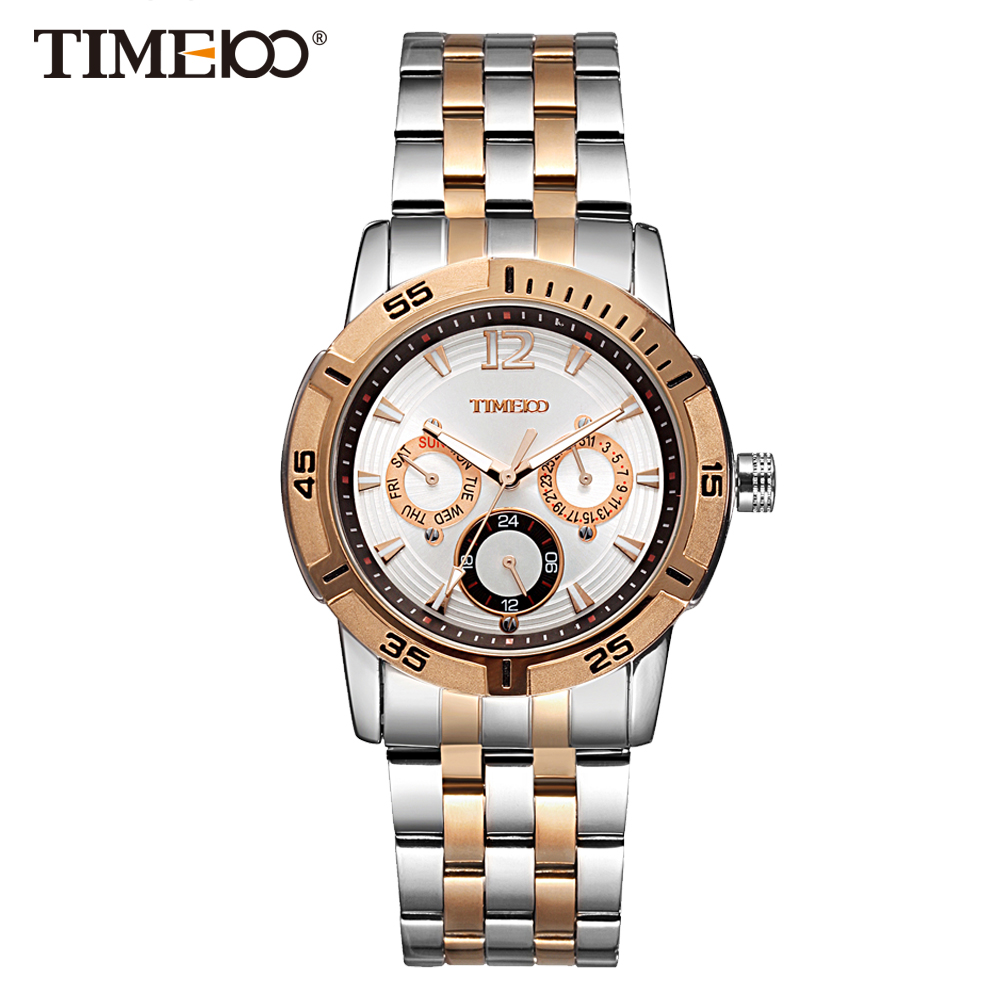 Time100 Men's Quartz Watch Stainless Steel Strap Wrist Watches For Men Multifunction Calendar Business Casual Relogio masculino time100 watch men black leather strap quartz watches calendar auto date business casual wrist watches relogios masculino