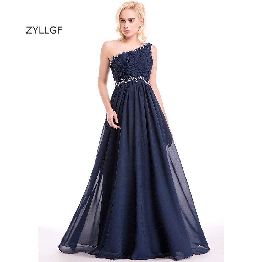 ZYLLGF longues robes de demoiselle d'honneur 2018 gaine une épaule plissé en mousseline de soie Western robe de mariée robes avec perles Q20
