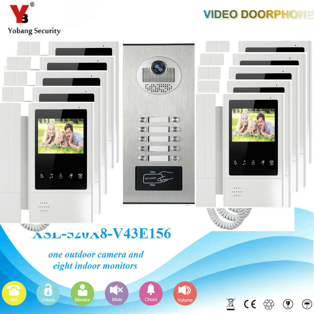 YobangSecurity 4.3Inch Color Villa Video Door Phone Doorbell Entry Intercom System RFID Access Door Camera For 10 Unit Apartment yobangsecurity villa apartment eye door bell 7tft lcd color video door phone doorbell intercom system 1 camera 6 monitor