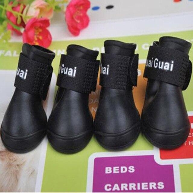 CW008 Waterproof Dog's Shoes, 4pcs/set Colorful Pet Shoes, Lovely Portable Pet Boots Anti Slip Skid Rain Shoes Size S M L