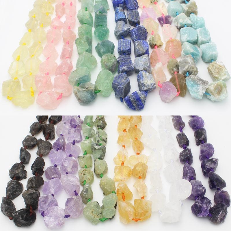 """Perles de forme libre en pierre naturelle brute pour bijoux 15 """", Amazonites, grenat, citrine, Quartzs clairs, Quartzs de Rose, Fluorite"""