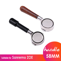 Coffee Machine Handle Bottomless Filter Holder Stainless Steel Espresso 58mm Coffee Maker Filter For Sanremo Barista Accessory