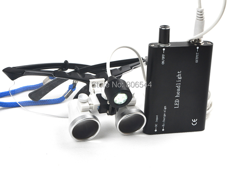 3.5X320mm Portable Black Dentist Surgical Medical Binocular Dental Loupe Optical Glass with LED Head Light Lamp NEW 2014 BEST 5A
