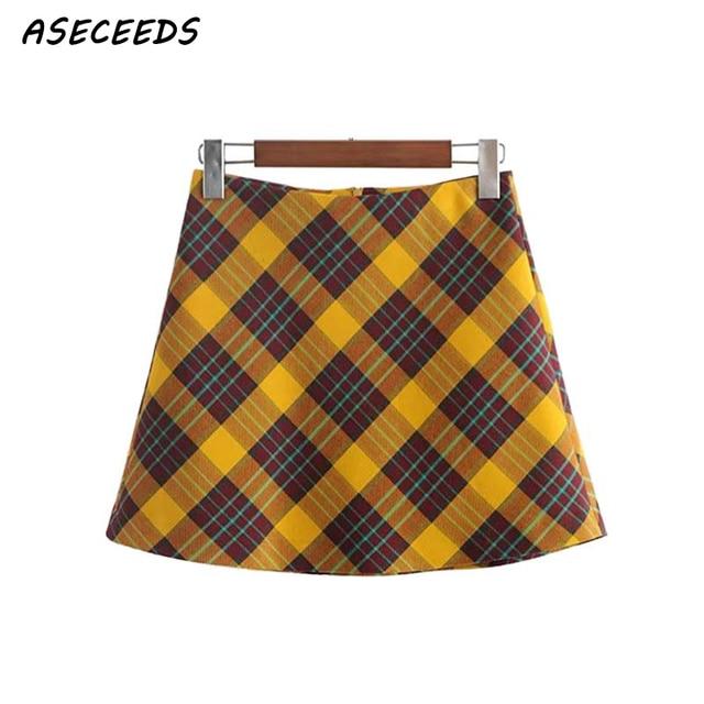 6b98f92944 Autumn kawaii yellow plaid skirt women sexy mini skirt 2018 korean fashion  harajuku knitted high waist skirt Streetwear clothes