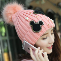 2017Newest! Handmade Pearl Shiny Beads Cartoon Mickey Fur Ball Pompom Tops Ear-warm Cap