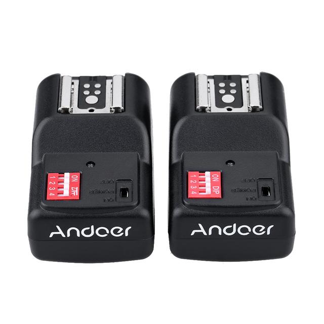 Andoer Universal 16 Channels Radio Wireless Remote Speedlite Flash Trigger 1 Transmitter & 2 Receivers for Flashe Speedlite