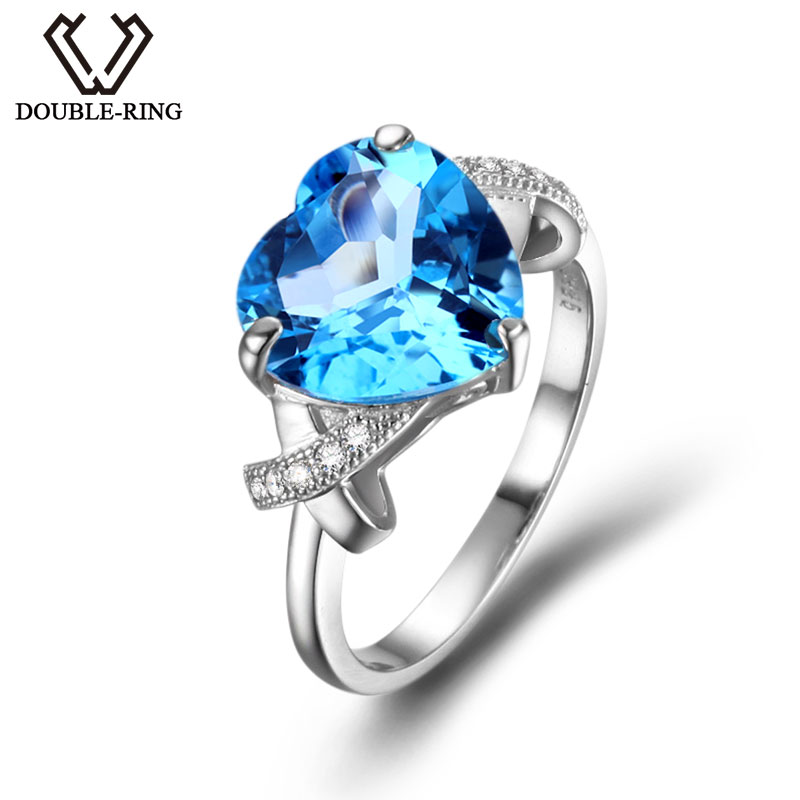 DOUBLE RING Real 925 Sterling Sliver Jewelry Female Rings Blue Topaz Main Stone Heart Ring Romantic