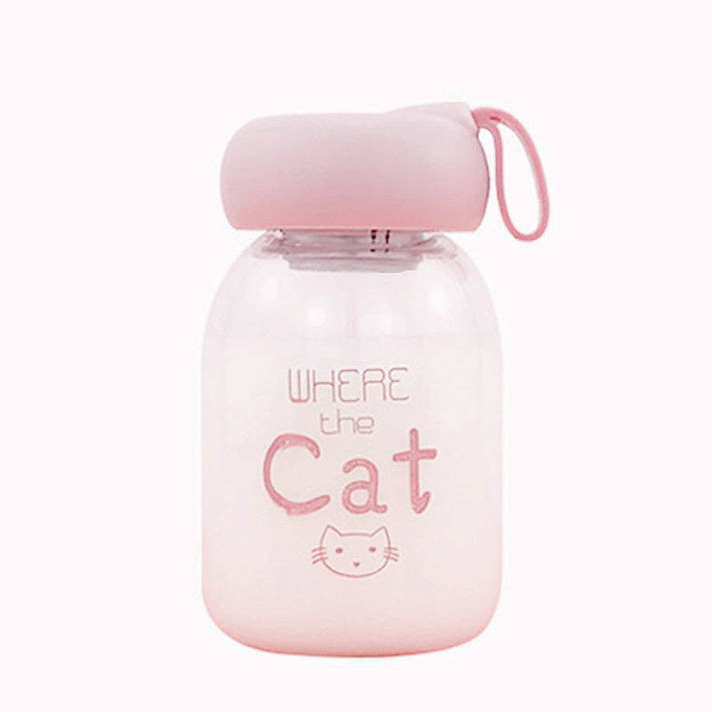 400ml Glass Water Bottle with Tea Infuser Transparent Borosilicate Portable Tea Bottle Drinking Water Children Cute Milk Bottle