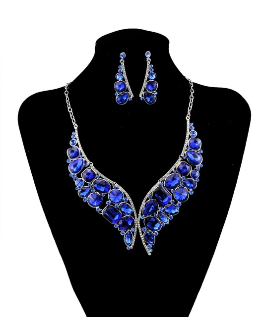 Silver Blue Crystal Rhinestone Necklace Earrings for Women Wedding  Whit K Plated Bridal Jewelry