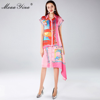 MoaaYina Fashion Designer Set Spring Autumn Women's Short sleeve Print Asymmetrical Blouse+Asymmetrical Skirt Two-piece suit фото