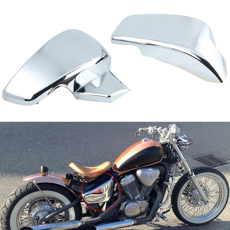 Chroming Battery Side Covers For Honda VT 600 Shadow VLX Deluxe 2007 Steed 400 / 600 1988 1990 1997 Steed 400VLS 1998 metal 19cm motorcycle saddle bag support bar mount brackets for honda shadow aero vt vlx