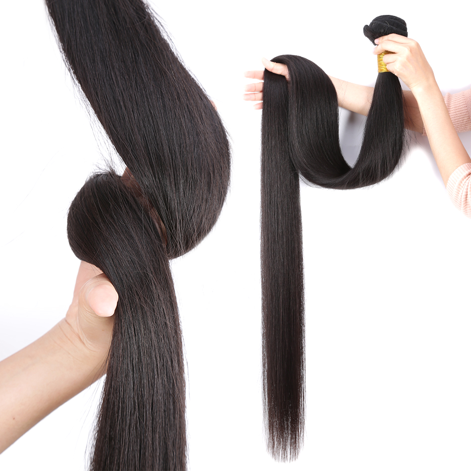 28 30 32 40 Inch 3 Brazilian Straight Hair Weave Bundles Deals Double Drawn Raw Unprocessed Virgin Weaving Human Hair Extension 2