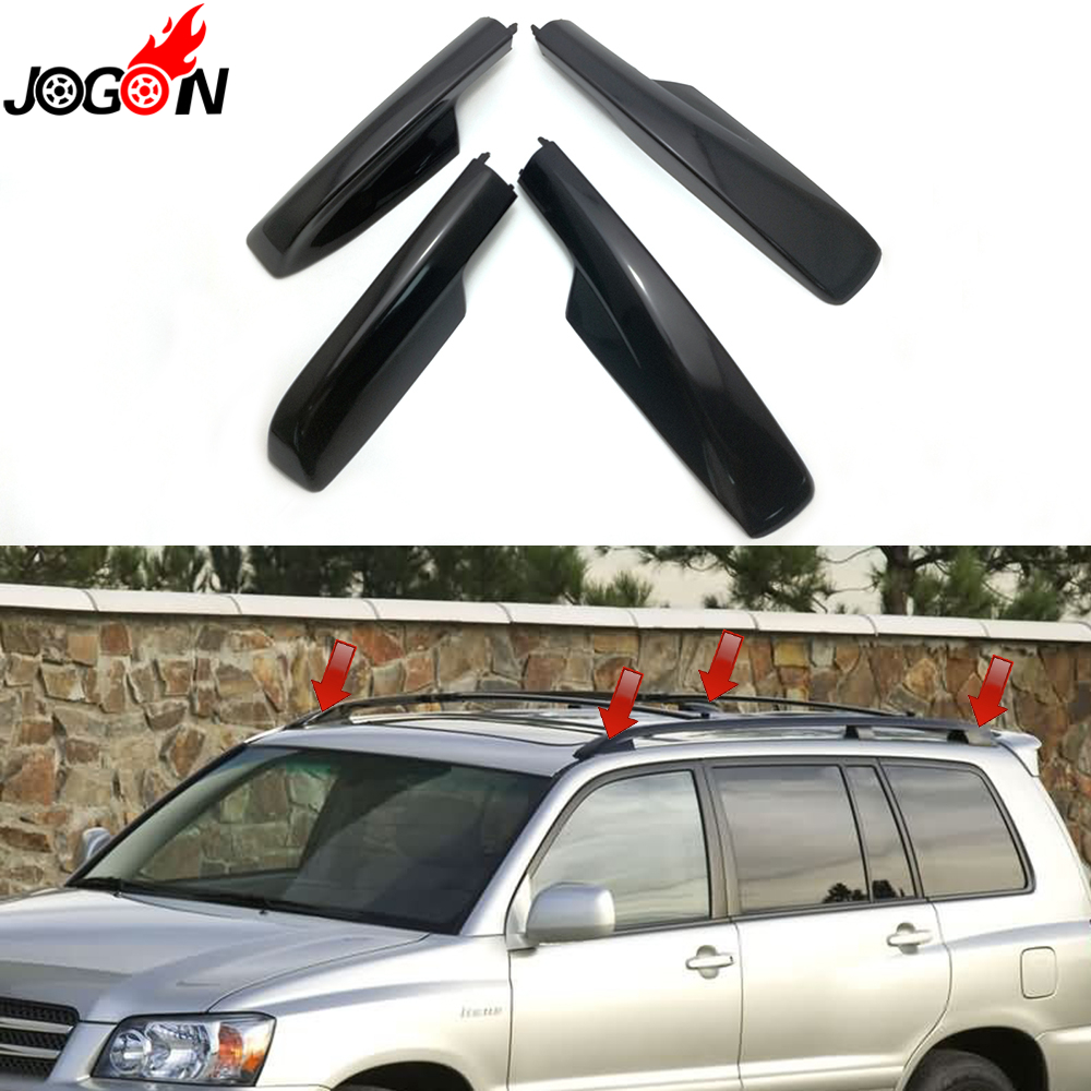 4PCS For Toyota Highlander XU20 2001 2002 2003 2004 2005 2006 2007 Black Car Roof Rack Cover Bar Rail End Replacement Shell цена