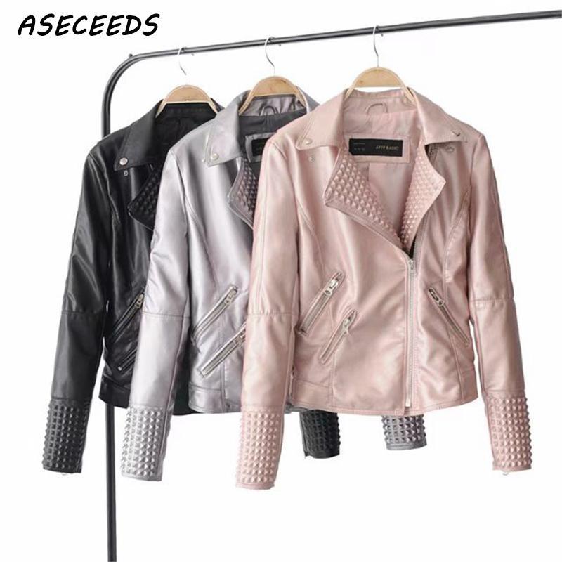Motorcycle black pink soft faux   leather   jacket women rivet zipper punk biker coat women basic outerwear Autumn 2018