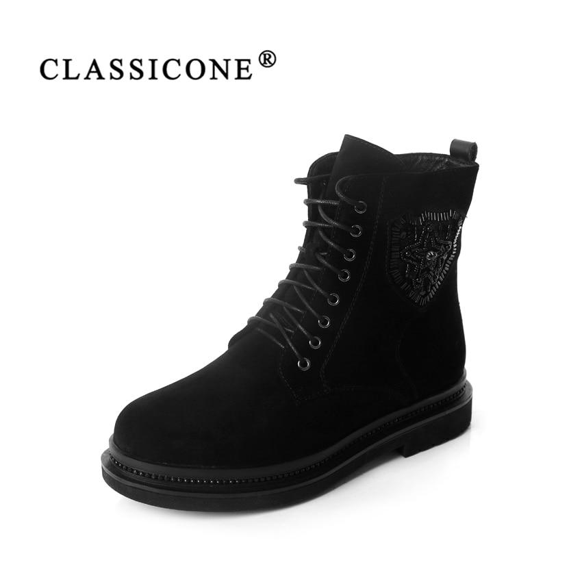 CLASSICONE 2018 scarpe da donna da neve di lana di inverno della caviglia stivali di cuoio genuino della pelle scamosciata all'interno caldo di modo di marca appartamenti no scivoloso sexy