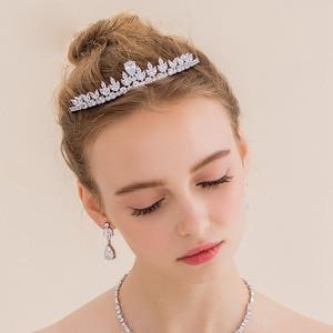 Image 2 - Bavoen Funkelnden Zirkon Hochzeit Kleid Haar Zubehör Gold Bräute Kronen Tiaras Überzogene Kristall Haarbänder Abend Haar Schmuck
