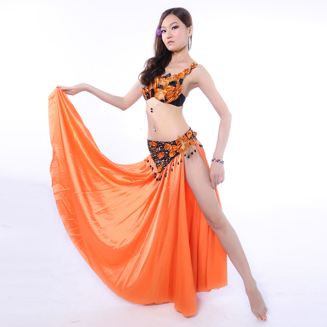 Hot Women Belly Dance Clothing 3pcs Outfit Feather Costume Rhinestone Bra C-cup Chiffon Long Skirt Belly Dance Costumes Orange