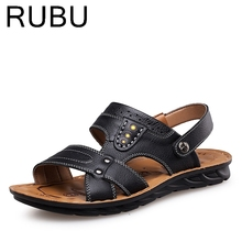 Man Sandals 2017 New Arrivals Summer Shoes High Quality Genuine Leather Beach Shoes Mens Hook And Loop Sandals For Men /03