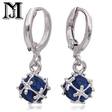Jiamu Fashionable Por Pendants Blue Natural Zirconium Earrings With Cz Ring Las Jewelry For Wowen