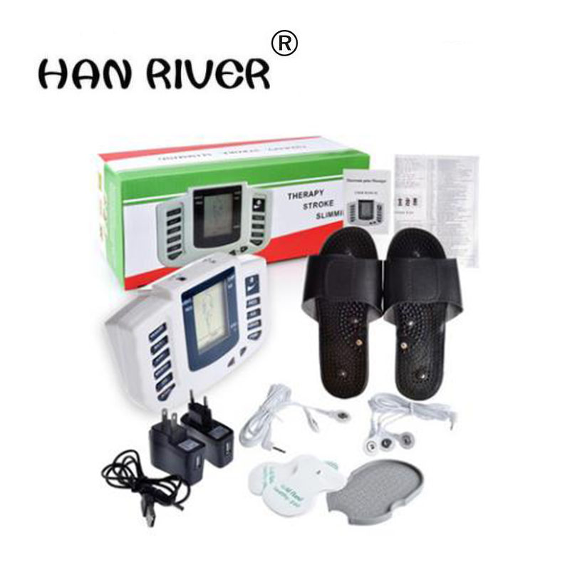 JR-309 Electrical Stimulator Full Body Relax Muscle Massager Pulse Tens Acupuncture Therapy Slipper+6 Electrode Pads electrical stimulator muscle massager slipper electrode pads body relax pulse tens acupuncture therapy digital machine dropshipp