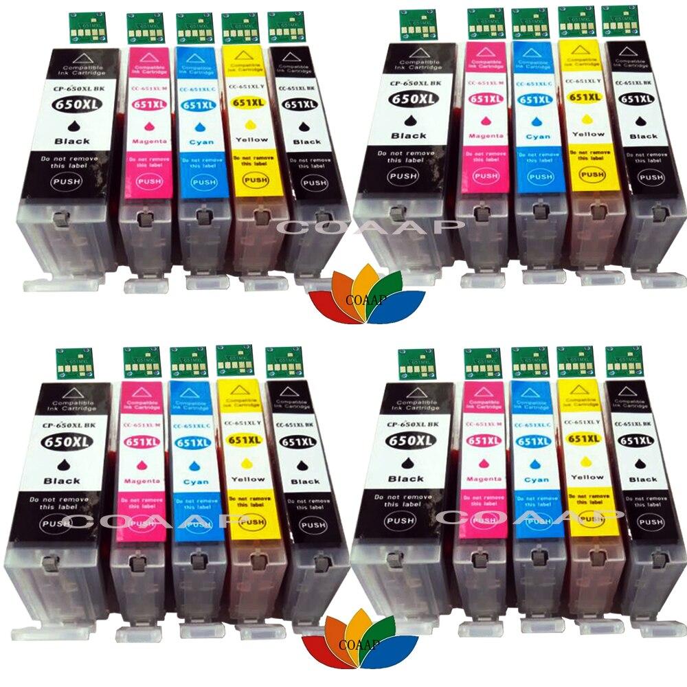 20x compatível pgi 650 cli-651 para canon pixma mg5560 ip8760 ix6860 ip7260 mg5460 mg6360 mg7160 pgi650 cartucho de tinta mx726