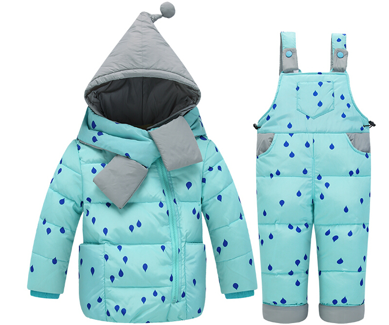 ФОТО 2016 New children clothing set thicken down feather coat kid down outerwear winter children overalls parkas Suitable 1-4years