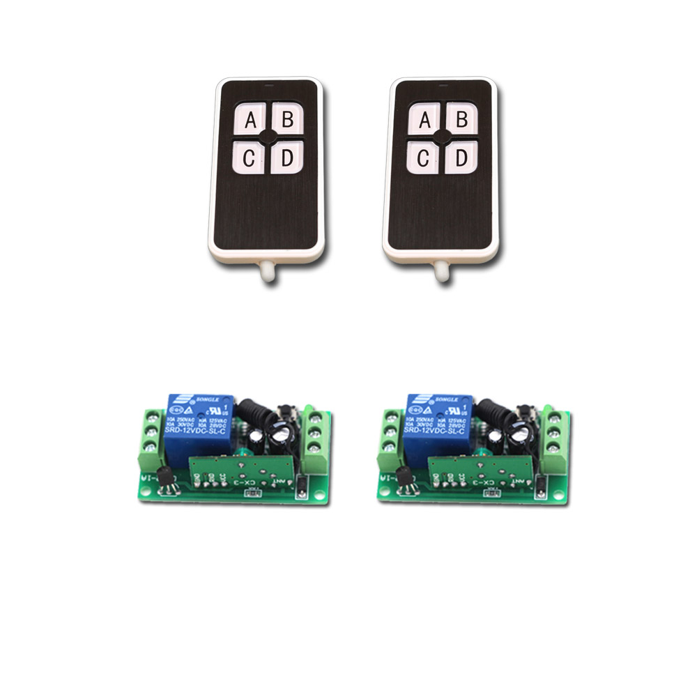 New Universal Wireless Remote Control Switch DC9V 12V 24V 1CH Relay Receiver  and 2pcs Transmitter 315/433 Mhz Remote Controls new control relay cad series cad32 cad32ndc cad 32ndc 60v dc
