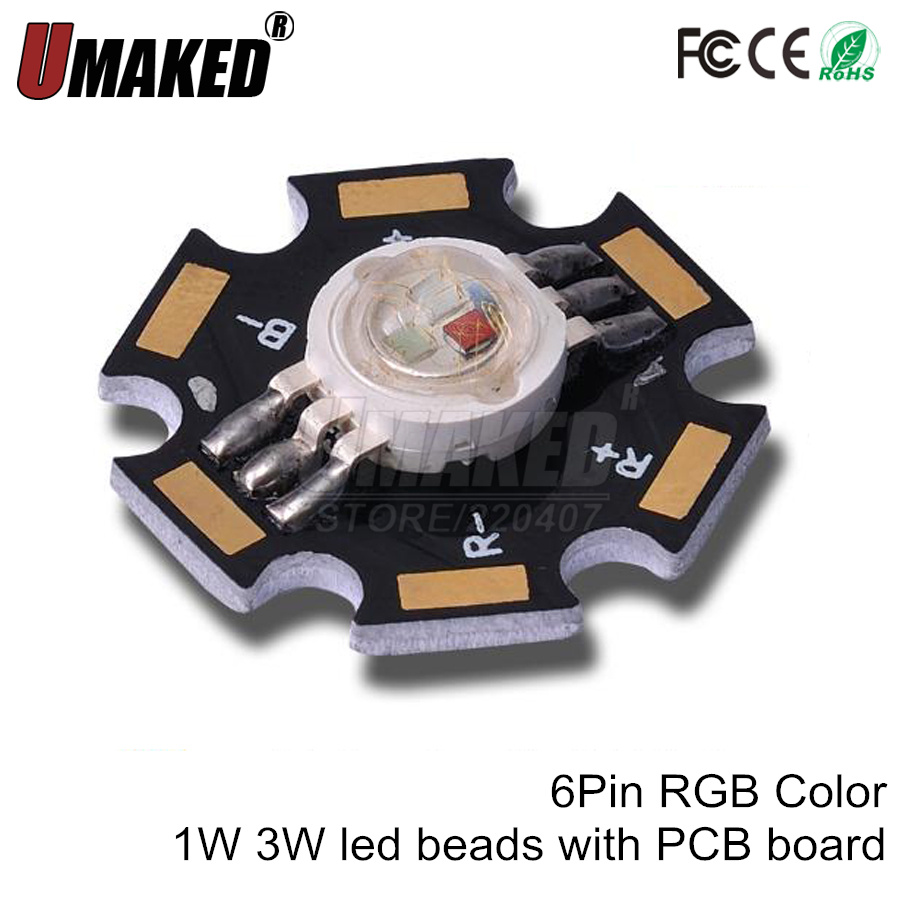 1W 3W High Power <font><b>LED</b></font> Bead with <font><b>pcb</b></font> <font><b>Board</b></font> <font><b>led</b></font> lighting source, RGB red green blue <font><b>led</b></font> chip for stage light, Free shipping image