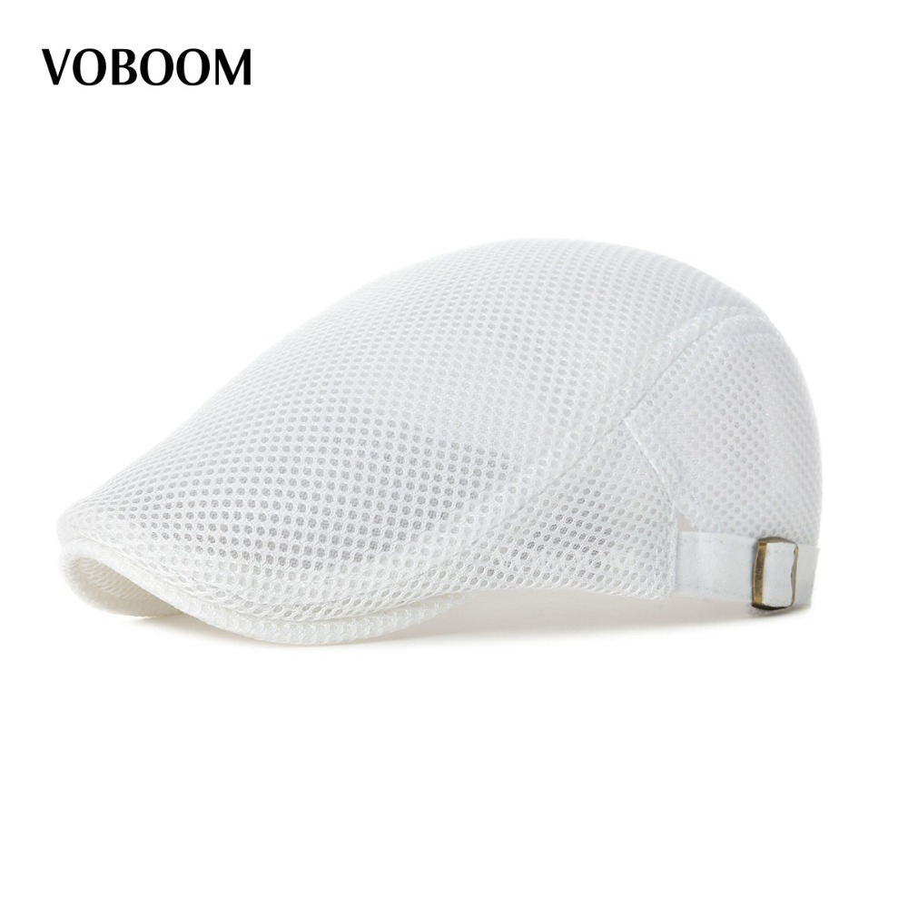 27ae09095 Summer Men Women White Casual Beret Hat Ivy Flat Cap Cabbie Newsboy Style  Gatsby Hat Adjustable Breathable Boina Mesh Caps 124