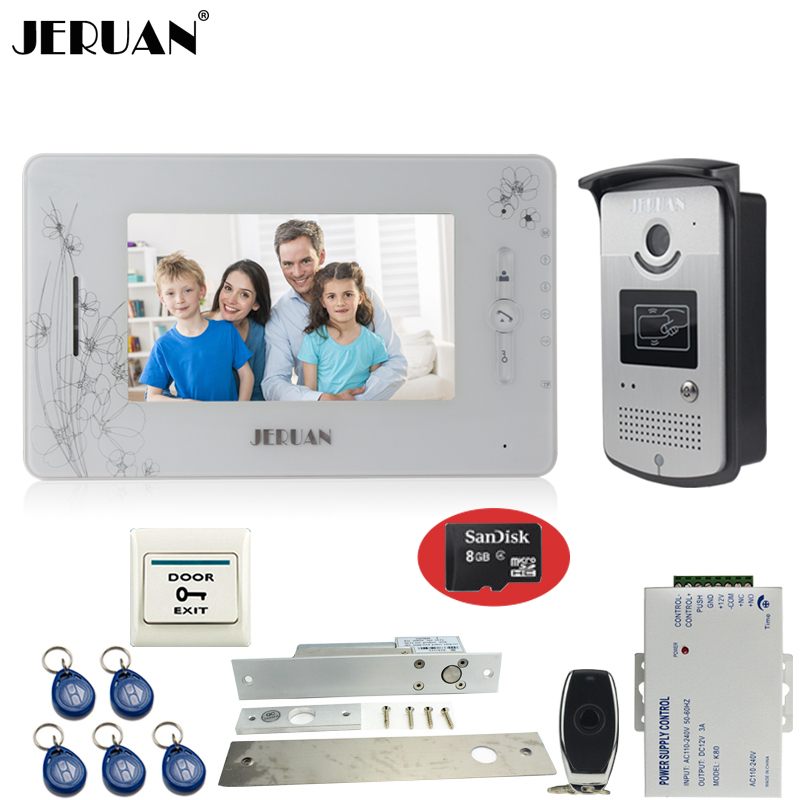 JERUAN white 7``color video door phone intercom+700TVL new RFID Access IR Night Vision Camera+Electric mortise lock+8GB SD Card jeruan three 7 monitor color video door phone intercom 700tvl rfid access ir night vision camera electric mortise lock 8gb card
