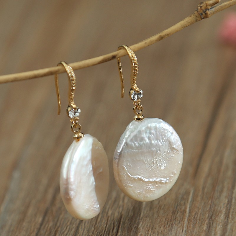 New Arrival Gold Color Dangle Drop Earrings for Woman with Flat Top Natural Freshwater White Baroque Pearls Best Gift