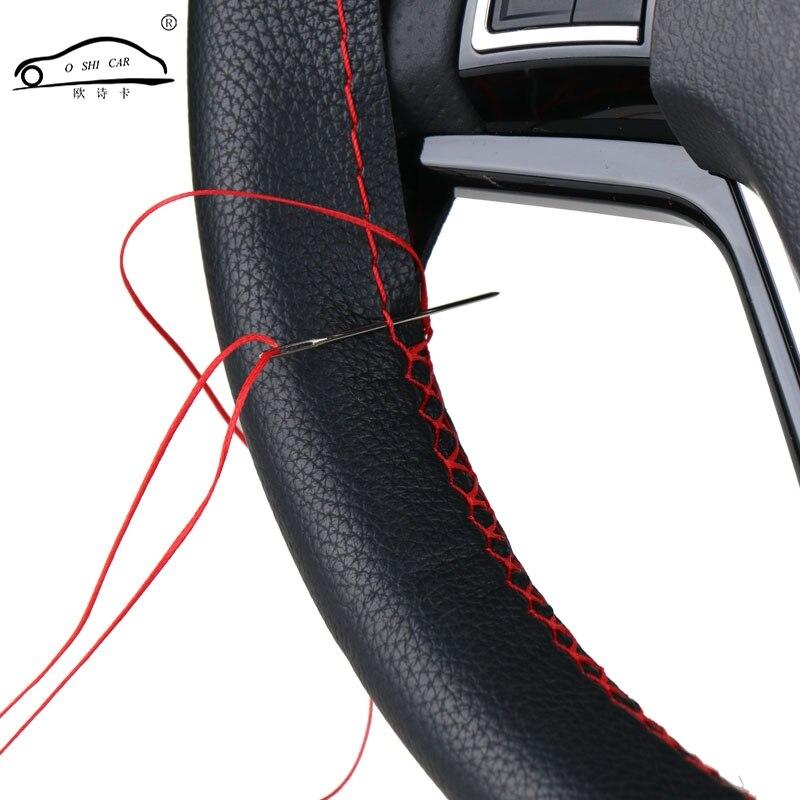 DIY Lenkrad Abdeckungen/Weiche Faser Leder geflecht auf die lenkung-rad von Auto Mit Nadel und Faden innen zubehör