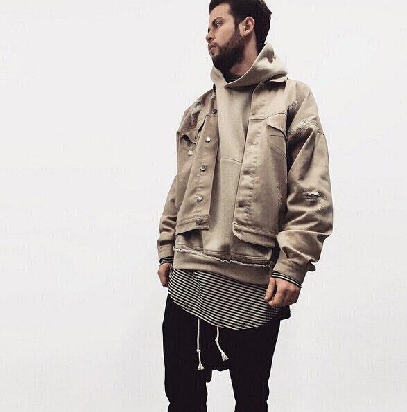 c7e96ec61ae 2017 new fashion khaki denim ripped jeans jacket mens hip hop swag street  over coat clothes clothing quality bomber military