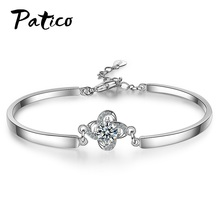 New Brand 925 Sterling Silver Charm Bracelets For Women Cubic Zircon Bracelet Statement Adjustable Pulsera Bijoux Jewelry
