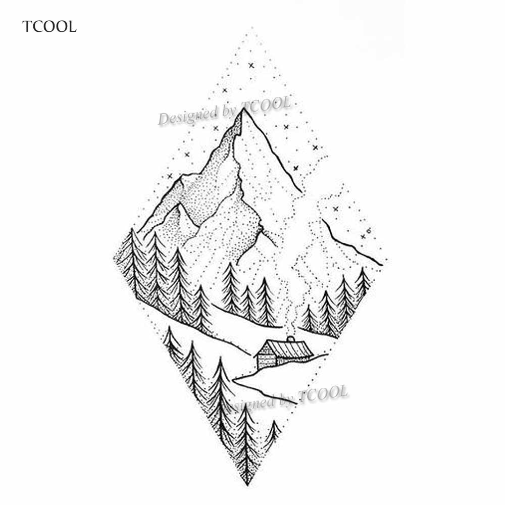 HXMAN Mountain Temporary Tattoos For Waterproof Men Fake Body Art Women Original Design Fashion Hand Sticker 9.8X6cm E-007