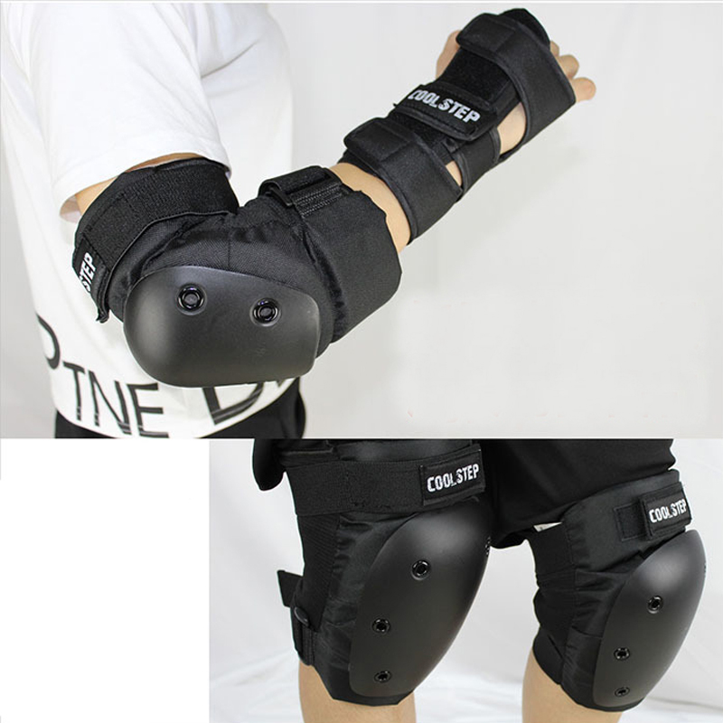 COOL STEP 6 Pcs Heavy Duty Knee Elbow Hands Protective Pad Support Kneepad Skateboard Skating Sports Safety Gear for Men/Women