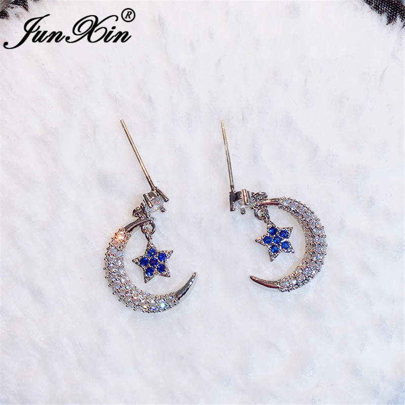 JUNXIN Girls Cute Small Star And Moon Stud Earrings For Women White Gold Needle Blue Pink Crystal Stone Korean Wedding Earrings