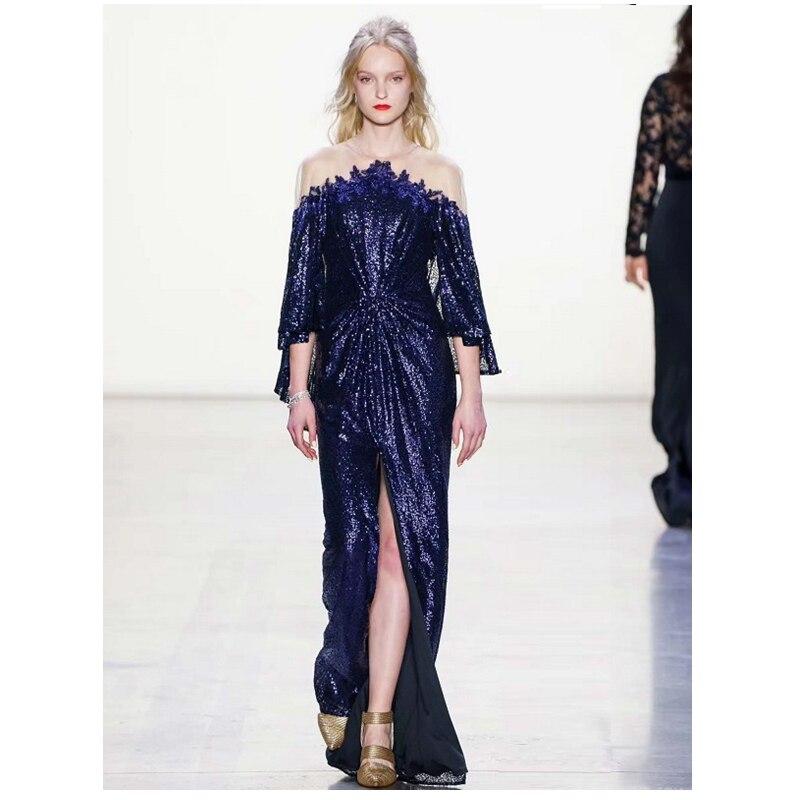 Dernière mode vente chaude élégante Royalblue longue robe Sexy haute fente à manches longues Sequin robe célébrité robes de soirée