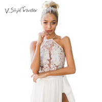 Sheer Embroidery Halter Crop Top Women Cropped Tank Blouse Blusa Blouse Casual Sexy Lace Camis Ropa